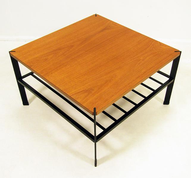 1960s Modernist Teak And Steel Coffee Table photo 1