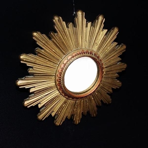 French Convex Glass Sunburst Mirror 17cm photo 1