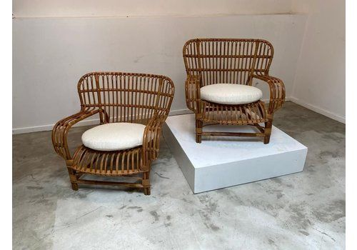 Bamboo Easy Chairs, 1960s, Set Of 2