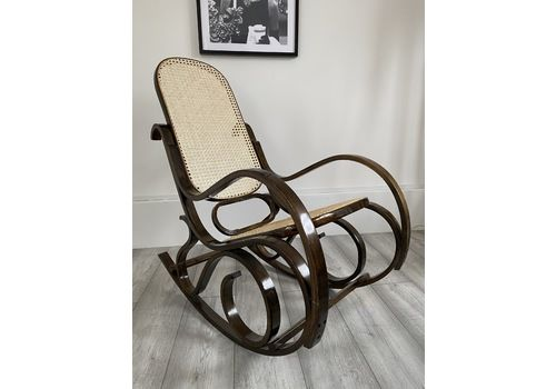 Vintage Mid Century Bentwood Bamboo Rattan Cane Thonet Rocking Chair