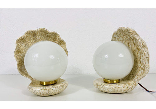 Very Rare Set Of 2 Shell Shaped White Opaline Wall Lamps Set Of 2  Germany 1960s