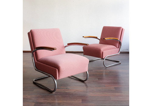 Functionalist Cantilever Armchairs Designed By W. Gispen For Mücke Melder, Set Of 2, 1930s