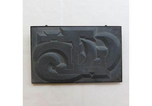 1960s Hand Carved Abstract Modernist Blue Slate Wall Hanging