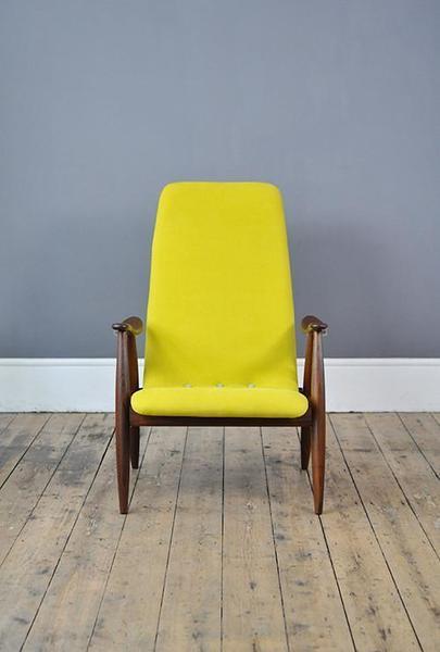 Yellow High Back Armchair photo 1