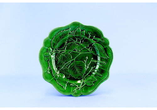 Green Majolica Serving Dish, English 19th Century