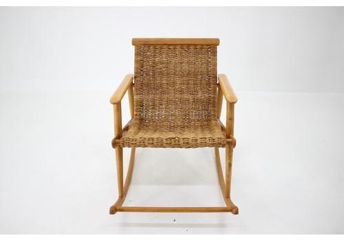 1960s Rattan Rocking Chair By Uluv, Czechoslovakia