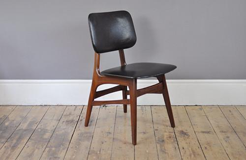 Set Of Four Black Skai Chairs