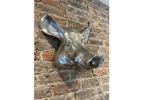 One Of Kind Large Vintage Metal Hanging Animal Wall Mounted Pigs Head