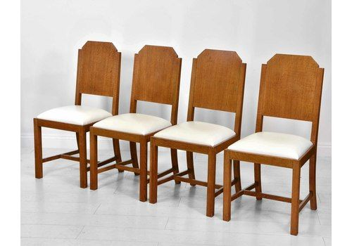 Art Deco Set Of Four Oak & Leather Dining Chairs In The Heals Manner