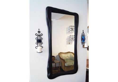 Large Hand Carved Ebonized Wooden Mirror, 2000