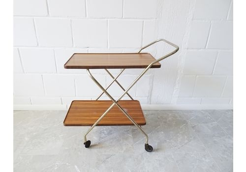 Foldable Serving Trolley In Gold And Walnut Look, Mid Century Bar Trolley, Tea Trolley