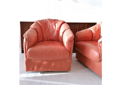 Super Cool Vintage American 1980s Salmon Pink / Coral Leather Swivelling Lounge Chairs  Two Available