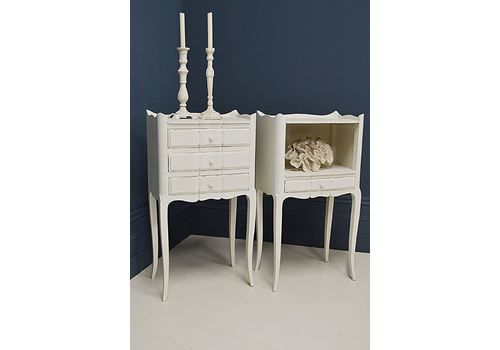 Pair Of Shabby Chic Vintage French Bedside Tables (White)