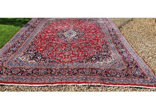"""Beautiful Vintage Worn Hand Made Traditional Wool Large Carpet 12ft 6"""" X 9'7"""""""