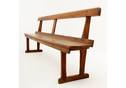 Large Vintage Solid Oak 8 Foot Bench