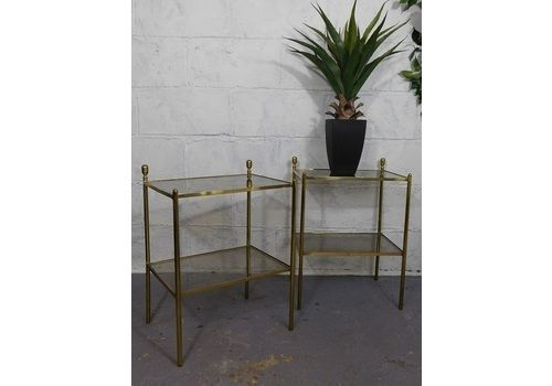 A Fine Pair Of 20th Century Antique Brass & Glass Tables