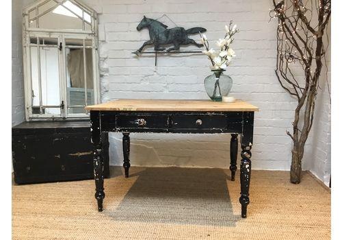 Antique Scrub Top Kitchen Table Chippy Black Paint