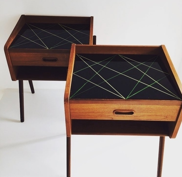 A Pair Of Midcentury Modern Teak Bedside Tables, Denmark 1970