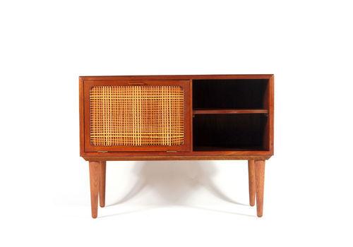 Retro Vintage Danish Small Teak Cane Sideboard Tv Cabinet 60s 70s Mid Century