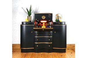 Thumb drinks cabinet with cocktail section vintage retro art deco style 1950s mid century black and gold home bar 0