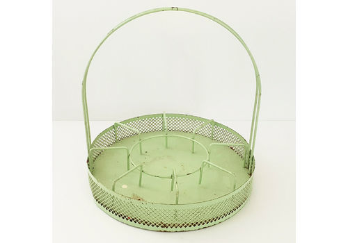 Vintage 1950 Glass & Carafe Basket In Perforated Sheet 50s 1950s Rockabilly