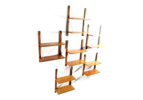 6 Retro Vintage Danish Design Teak Wall Book Shelves Wall System Bookcases 1960s