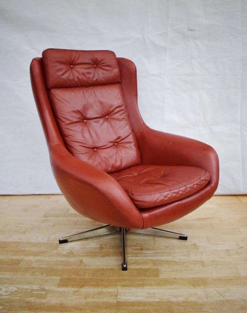 Brilliant Kf8 Descargar Mid Century Retro Danish Red Leather Swivel Squirreltailoven Fun Painted Chair Ideas Images Squirreltailovenorg