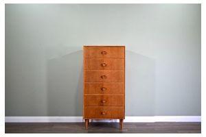 Thumb midcentury meredew tallboy chest of drawers in oak vintage modern scandinavian retro danish style 6ebd44a8 8465 4cf0 8105 a879a4ecd999 0