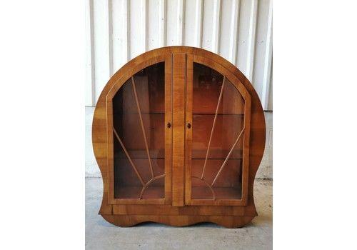 Antique Vintage Art Deco Round Walnut Cabinet Bookcase