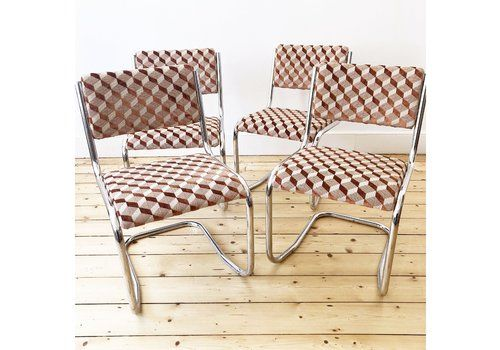 70s Chrome And Geometric Velvet Cantilever Dining Chairs