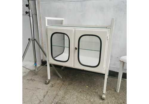 Vintage Rare 50s Hospital Trolley, Steel And Glass, Display Cabinet