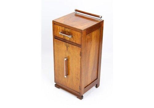 Art Deco Burr Walnut Bedside Cabinet