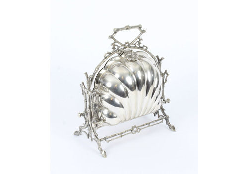 Antique Victorian Silver Plated Shell Folding Biscuit Box By Elkington 19th C