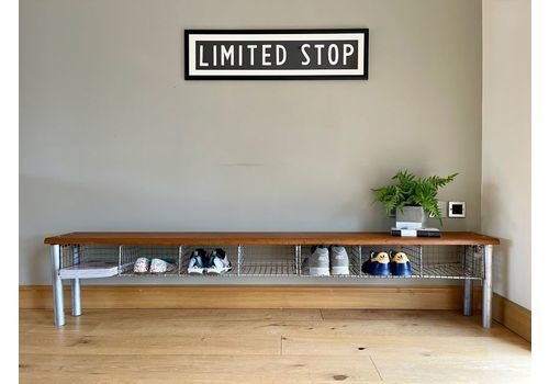 Mid Century Long Old School Vintage Gym Bench With Baskets