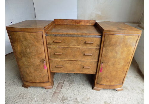 20th C,Art Deco,Walnut,Inverted,Break Front,Bow Front,Sideboard,Drawers,Cupboard