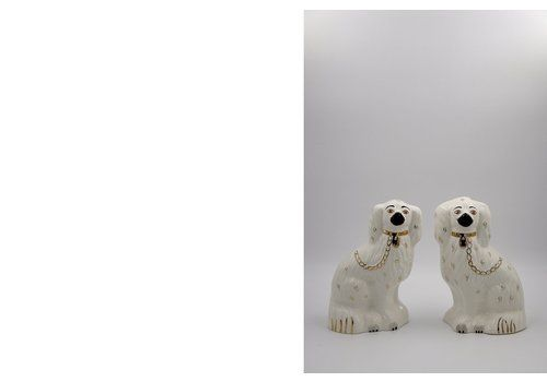 Mid Century Staffordshire Ceramic Spaniel Mantle Dogs 1378 4 From Beswick England, 1960s, Set Of 2