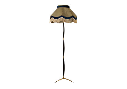 Floor Lamp Stained Wood Brass Vintage Italy 1950s