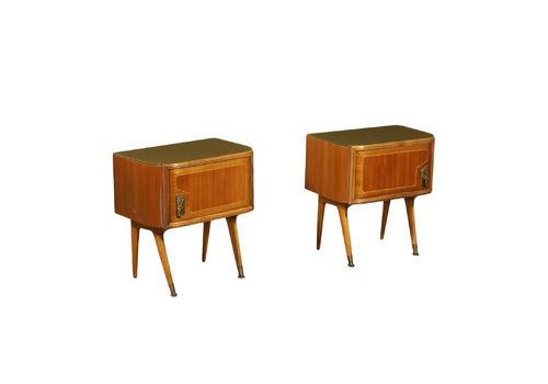 Bedside Tables Mahogany Veneer Glass Brass Italy 1950s 1960s