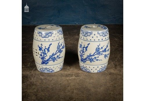 Pair Of Blue And White 19th C Chinese Porcelain Garden Seats