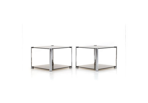 Pair Of Nightstands In Chromed Metal And Smoked Glass, 70s