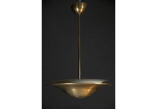 Bauhaus Brass Chandelier With Indirect Light, 1930s