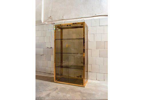 Italian Romeo Rega Style Sideboard In Brass And Glass, 1970s