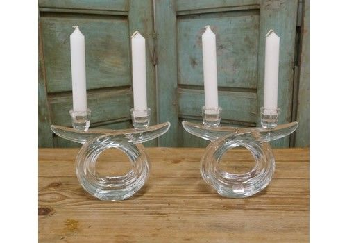 A Pair Of Art Deco Twin Crystal Candle Sticks