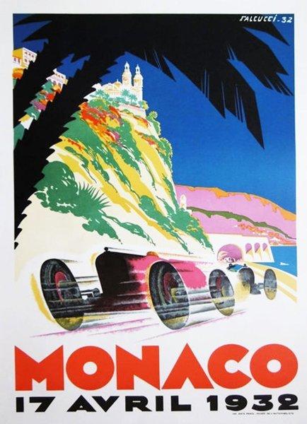 1932 Monaco Grand Prix   Original Vintage Poster