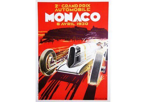 1930 Monaco Grand Prix   Original Vintage Poster