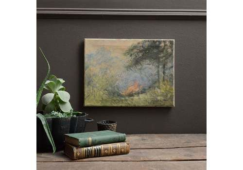 Mid 20th Century Impressionist Oil Painting Of Landscape With Woodland Campfire