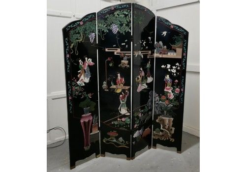 Large Japanese Etched Lacquer And Painted Folding Screen, Geisha Garden