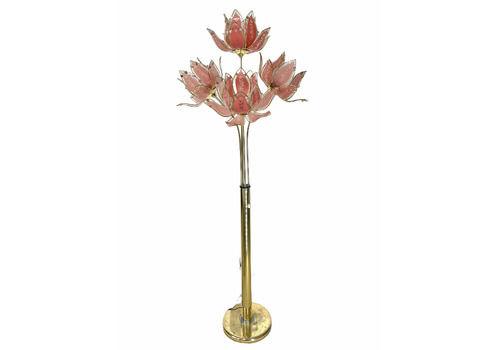 Hollywood Regency Art Deco Pink Glass Lotus Bouquet Floor Lamp