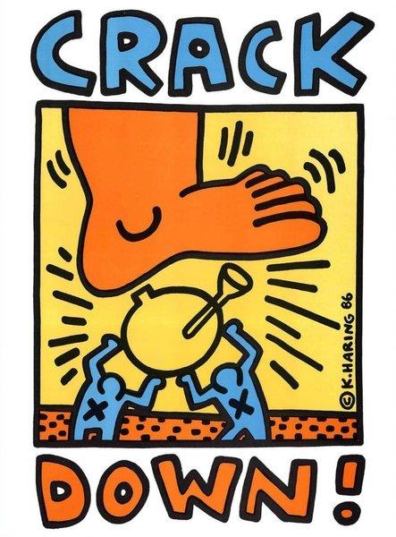Keith Haring Crack Down   Original Vintage Poster