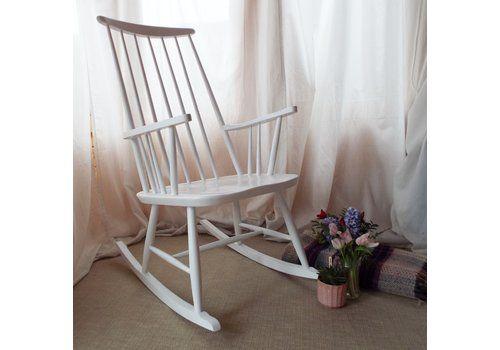 Roland Rainer Rocking Chair In White